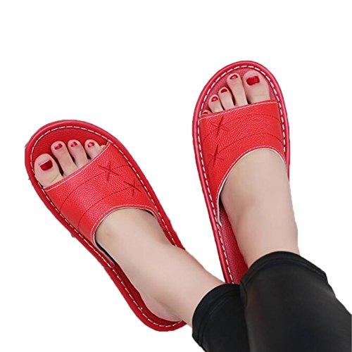 de o olores Primavera Interior Prueba TELLW Dormitorio Zapatillas Cool de Verano a casa Masculina Mujer Roja Transpirable Cuero Mujer Antideslizante Verano Zapatillas de Oto Vaca 57q4P