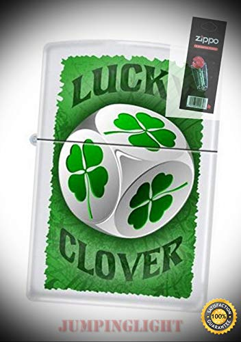 3733 Lucky 4 Leaf Clover dice Rare & Discontinued Lighter with Flint Pack - Premium Lighter Fluid (Comes Unfilled) - Made in USA!