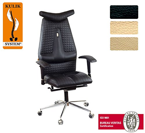 Kulik System© JET Luxury Italian Höchste Qualität Ergonomic Büro / Hause Computer Schreibtisch Lehnstühle Stühle Sessel (Schwarz)