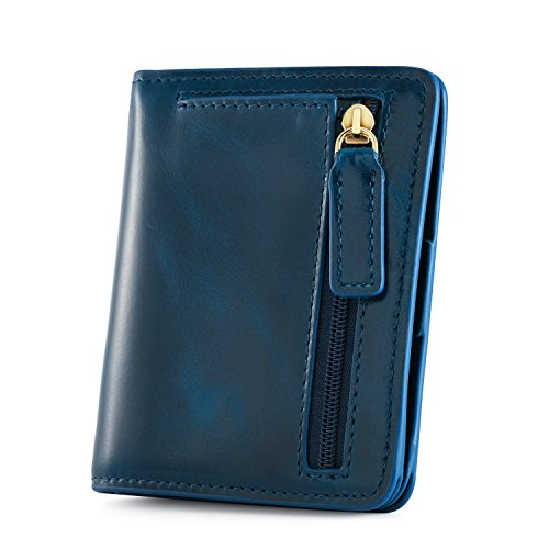Kattee RFID Blocking Leather Bifold Small Wallet for Women (Blue) by Kattee