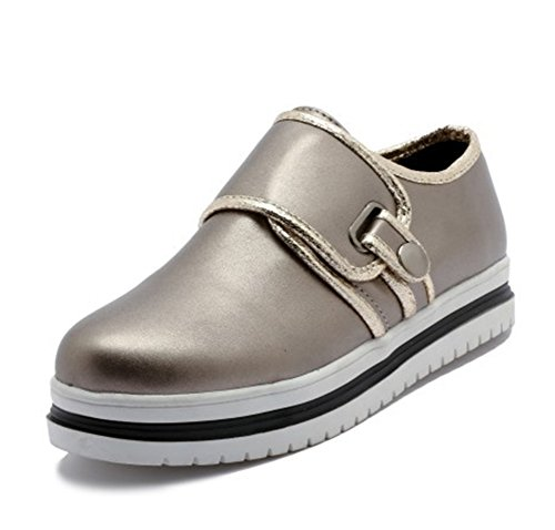 Easemax Womens Trendy Stitching Round Toe Low Top Platform Buckle Sneakers Gold 9pR6miTYh