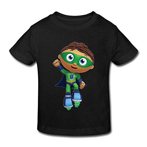 Toddler's 100% Cotton Super Why! Cute T-Shirt Black US Size 4 -