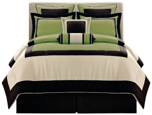 Fashion Street Olive Gramercy 8-Piece Comforter Set, Queen