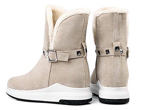 Hiver Mode Bottines Chaussures Aisun De Beige Rivets Femme 8wqIC