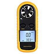 Mseng handheld anemometer miniature digital lcd wind speed measuring instrument digital thermistor air speed measurement of wind and air in sailing boat etc