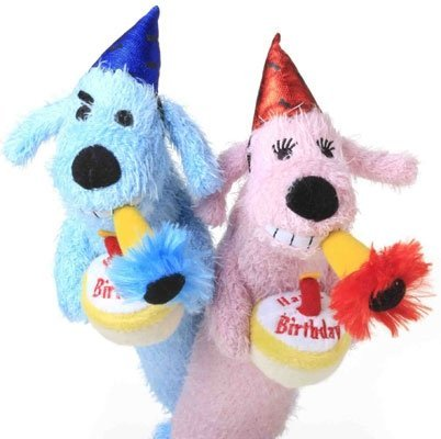 Happy Birthday Dog Loofa Toy- Pink or Blue by Multi Pet