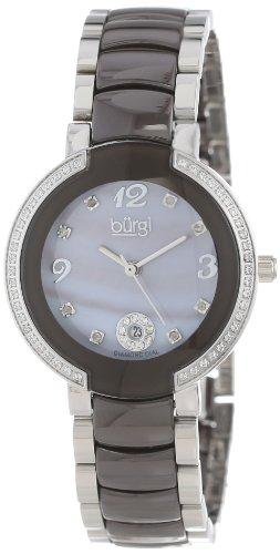 Burgi Women's BUR072BR Mother-Of-Pearl Diamond Ceramic Bracelet Watch