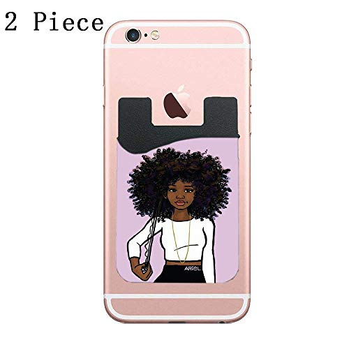 (CardlyPhCardH Cardly (Two) Cell Phone Stick on Wallet Card Holder Phone Pocket for All Smartphones (Long Curly Black Hair Art Long Curly Girl Stretched))