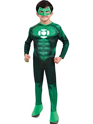 Green Lantern Child's Deluxe Hal Jordan Costume With Light Up Logo by Rubies - Domestic