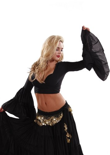Belly Dance Tribal Bell-Sleeve Cotton Top | Bell Rompi 2 - Black - Small/Medium