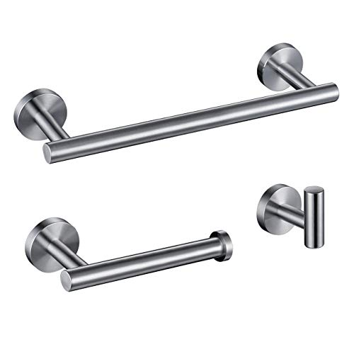 - Hoooh 3-Piece Bathroom Accessories Set Brushed Stainless Steel Wall Mount - Includes 12
