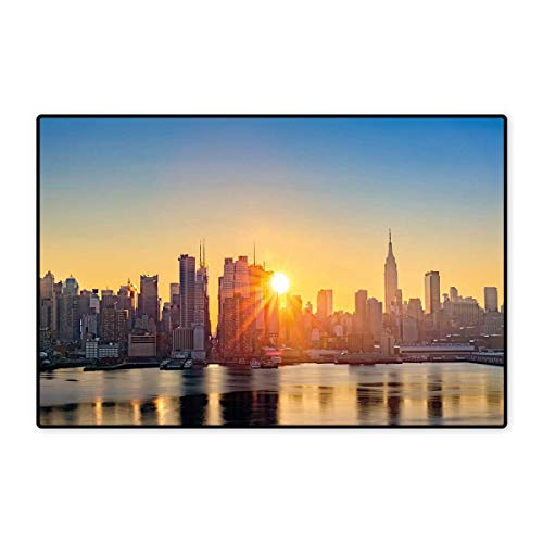 City Door Mat Small Rug Tranquil Sunrise at Midtown Manhattan United States NYC Waterfront America Bath Mat for Bathroom Mat 16