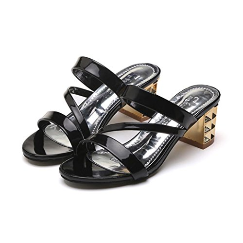 Colorful TM Fashion Summer Women Ladies Ankle High Heels Sandals Party Slippers Shoes Black c1HHIa5DR