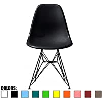 2xhome - Black - Eames Style Side Chair Black Eiffel Base Dining Room Chair - Lounge Chair No Arm Arms Armless Less Chairs Seats Black Wire Legs