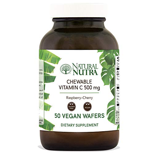 Natural Nutra Chewable Vitamin C Supplement 500 mg with Acerola, Bioflavonoids and Rosehips for Kids and Adults, High Potency, Delicious Raspberry and Cherry Flavor, 50 Vegan Wafers