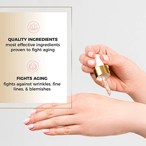 41CtC6OGvvL - Anti-Aging Face Serum - Nourishing Elixir Beauty Facial Oil Treatment with Rosehip Oil and 24K Gold Dust for Face, Hair and Body, Rose Hip Seed Oil Softens and Helps Reduce Fine Lines and Wrinkles