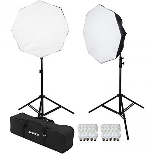Westcott 2 Light D5 Daylight Octabox Kit with Case, 2x D5 5-Socket Light Head, 10x Fluorescent Lamp, 2x Power Cord, 2x Octabox, 2x 6.5' Light Stand ()