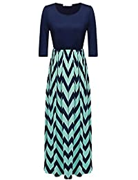 ANGVNS Womens Fashion 3/4 Sleeve Casual Contrast Color Striped Maxi Dress