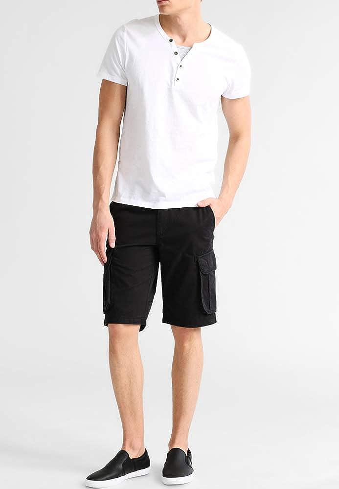 Pier One Pantalones Cortos de Hombre en Negro - Talla 33: Amazon ...