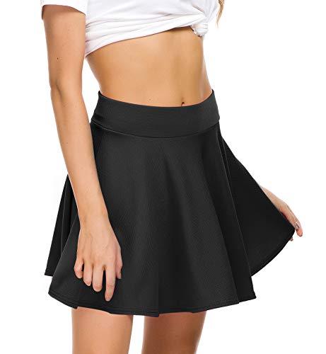 EXCHIC Women Stretch Waist Flared Mini Skater Skirt Casual Pleated Skirts (M, Black) (Detail Skirt Pleated)
