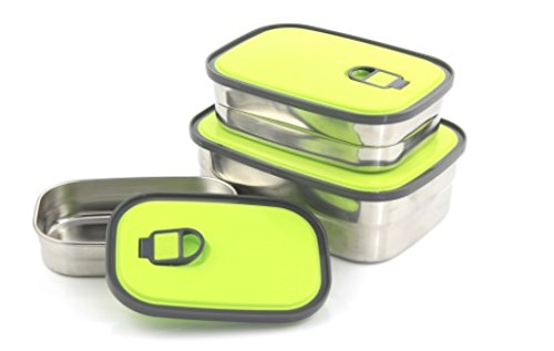 SUMMER SALE! Stainless Steel Bento Lunch Box Set 3 in 1. BPA FREE! Leak Proof With Easy to Identify Green Lids. Perfect For The Family.