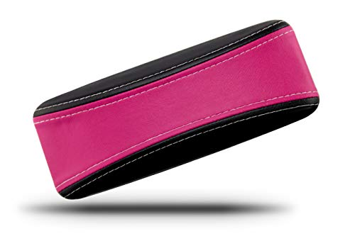 (Protective Glasses Case for Men and Women - Prevent Scratches on Your Glasses and Sunglasses - Premium Leather Felt Lined - 100% Satisfaction Guarantee - Pink on Black with White Stitching)