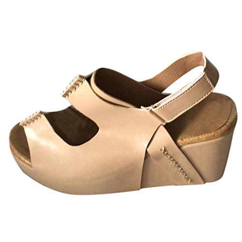 ◕‿◕Watere◕‿◕ Women Open Toe Breathable Beach Sandals Rome Casual Solid Color Wedges Shoes Fish Mouth Sandals Khaki