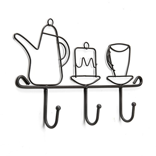 Wall Mounted Hook Rack,11 Inch Cast Iron 3 Hooks Kitchen Home Restaurant Keys Coats Cups