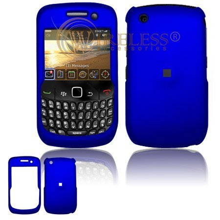 Dark Blue Rubber Feel Snap-On Cover Hard Case Cell Phone Protector for BlackBerry Curve 8520 Gemini (Blackberry 8520 Curve Cover)