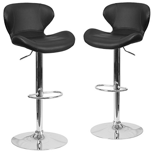 Flash Furniture 2 Pk. Contemporary Black Vinyl Adjustable Height Barstool with Curved Back and Chrome Base -, 2-CH-321-BK-GG