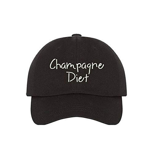 Champagne Diet Dad Hat | Drinking Hat | Sparkling Wine | Wine Lover | Ethanol | Alcoholic Diet | Vintage | Black
