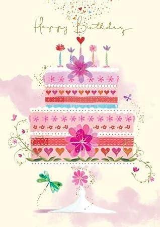 Astounding Amazon Com Happy Birthday Card Flower Cake Design Size 4 75 X Funny Birthday Cards Online Barepcheapnameinfo
