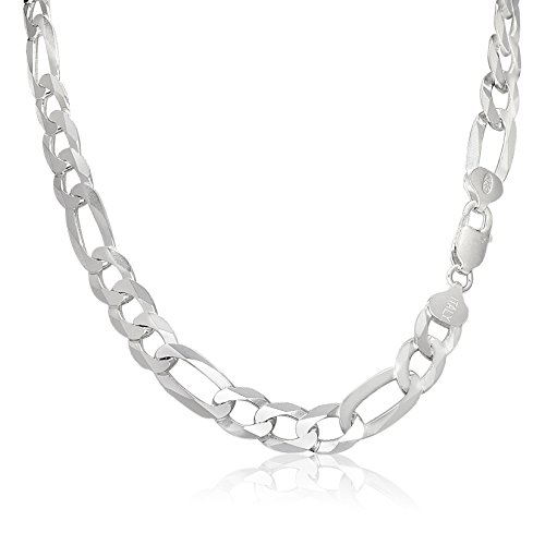 Men's 8mm 220 Gauge Figaro Chain Solid .925 Sterling Silver Necklace , 22