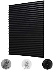 """LUCKUP Temporary Blinds Cordless Blackout Pleated Fabric Shade Easy to Cut and Install, with 4 Clips (36""""x72""""- 2 Pack, Black)"""