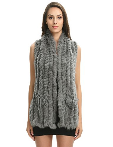 Ferand Elegant Stripped Knitted Rabbit Fur Sleeveless for sale  Delivered anywhere in USA