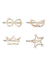 ROWAG 4 Pcs Professional Girls Gold Metal Pearl Hair Styling Clips for Women