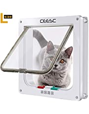 "CEESC Cat Flap Door Magnetic Pet Door with 4 Way Lock for Cats, Kitties and Kittens, 3 Sizes and 2 Colors Options (L- Inner Size: 2.17""(D) x 7.08""(W) x 7.48""(H), White)"