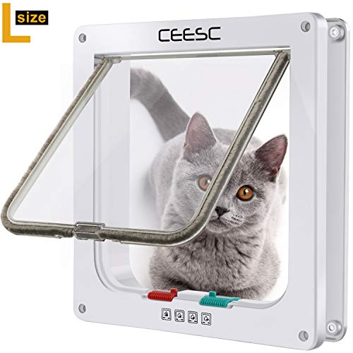 CEESC Cat Flap Door Magnetic Pet Door with 4 Way Lock for Cats, Kitties and Kittens, 3 Sizes and 2 Colors Options (L- Inner Size: 2.17