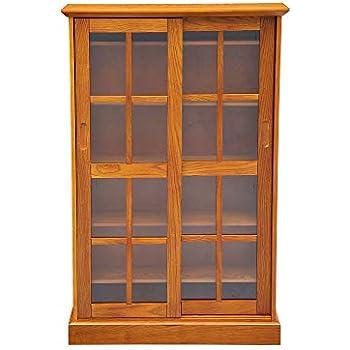 Attirant Circlelink Glass Sliding Door Bookcase Media Cabinet, Oak