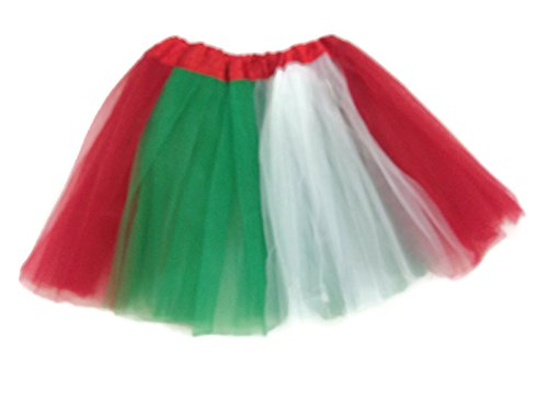 Rush Dance Colorful Kids Girls Ballerina Dress-Up Princess Costume Recital Tutu (One Size, Red, White & Kelly Green (Cinco De -