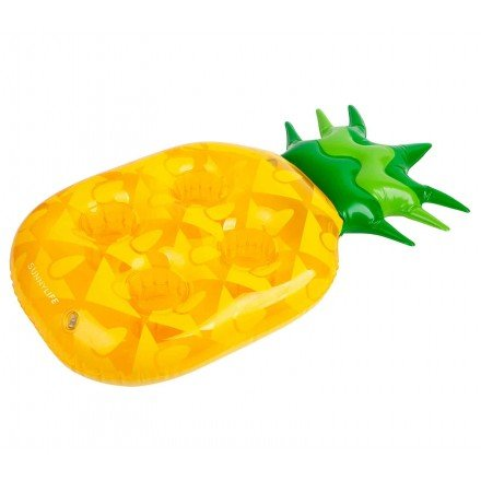 SunnyLife Women's Inflatable Pineapple Drink Holder, Yellow, One Size ()