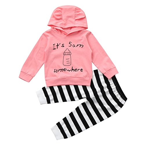 Milk Bottle Halloween Costume (Newborn Infant Baby Letter & Milk Bottle Pattern Solid Color Hoodie Tops+Stripe Pants Outfits Clothes Set by CSSD (24M, Pink))