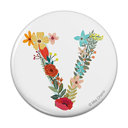 Letter V Floral Monogram Initial Compact Pocket Purse Hand Cosmetic Makeup Mirror - 3