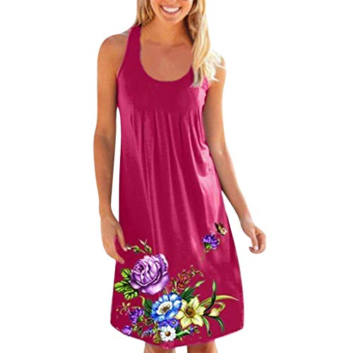 (Womens Ladies Casual O-Neck Print Sleeveless Midi Dress Summer Loose Ruched Club Party Camis Dresses Beach Sundress)