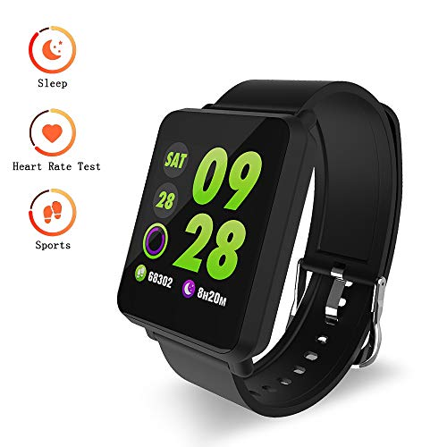 DAWO Fitness Tracker, Waterproof Big Color Screen Activity Tracker with 8 Sports Modes Pedometer Heart Rate Blood Pressure Monitor Smart Watch for Kids Men Women