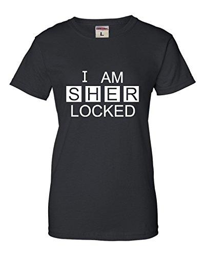 Large Black Womens I Am Sherlocked Sherlock Holmes Inspired T-Shirt