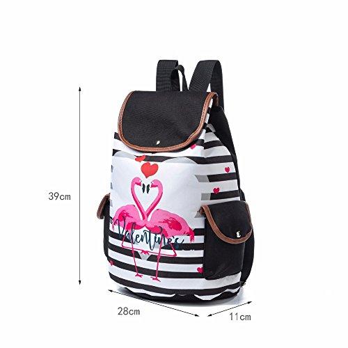 cordonnet Imprimer à de dos Design Double Winnerbag Sac l'École Sacs 1170b filles pour rayé les Rose sacs femme dos Flamingo de à voyage toile à de wvxqaadX
