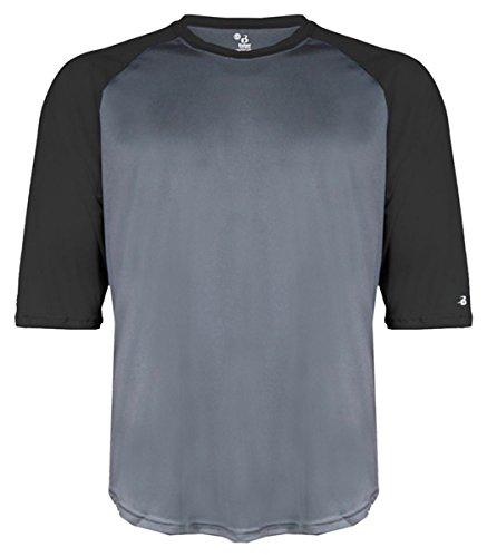 Undershirt Baseball Sleeve (Badger 2133 Youth Performance 3/4 Raglan-Sleeve Baseball Undershirt Graphite/ Black L)