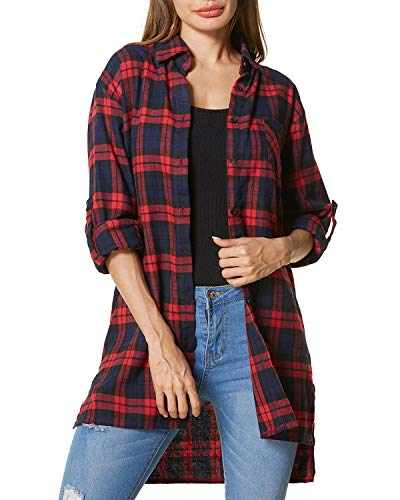 ZANZEA Loose Flannel Plaid Shirt Dress Buffalo Long Cardigan