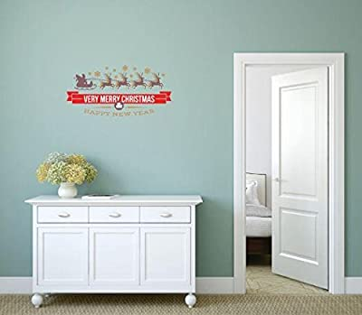 Vinyl Wall Decal Sticker : Very Merry Christmas & Happy New Year Holiday Bedroom Bathroom Living Room Picture Art Peel & Stick Mural Size: 16 Inches X 48 Inches - 22 Colors Available